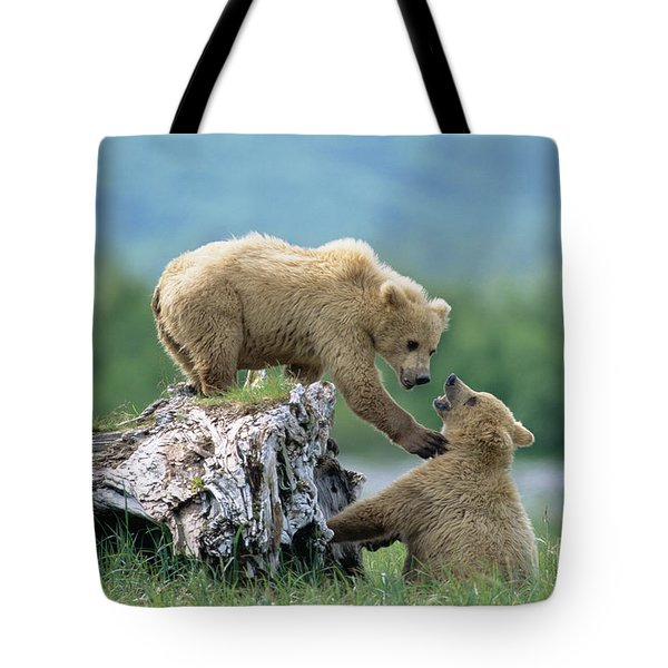 Grizzly Sisters Playing Tote Bag