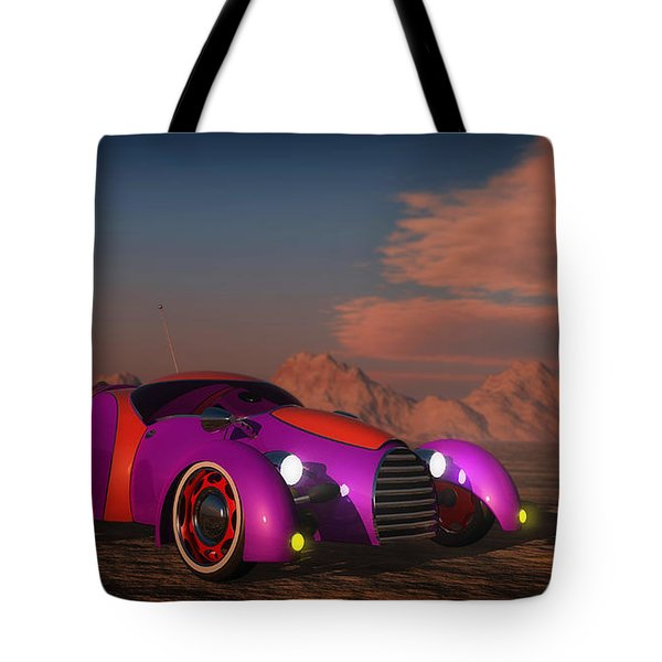Grobo Car In A Desert Setting Tote Bag