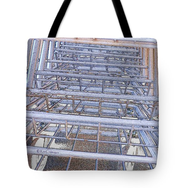 Tote Bag featuring the digital art Grocery Carts 1 by Kae Cheatham