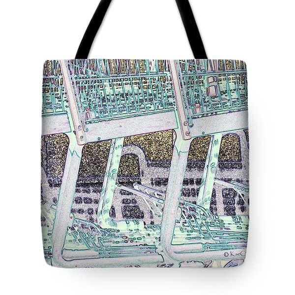 Tote Bag featuring the digital art Grocery Carts 2 by Kae Cheatham