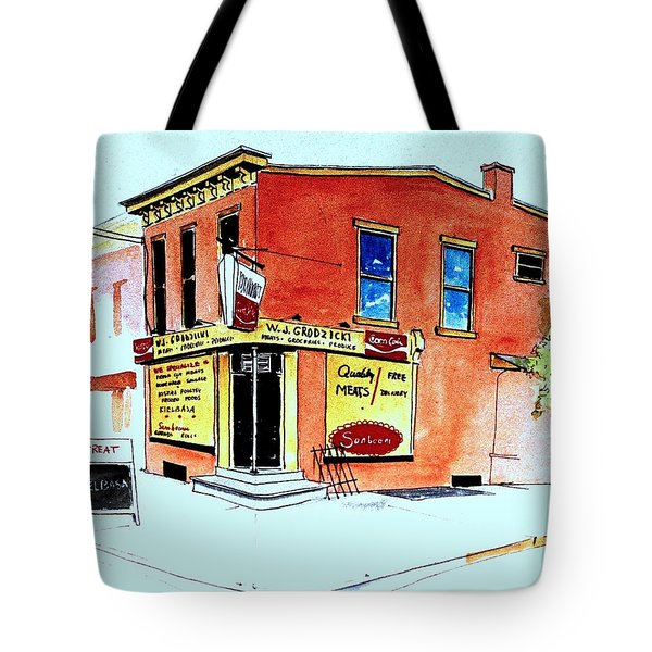 Tote Bag featuring the painting Grodzicki's Market by William Renzulli