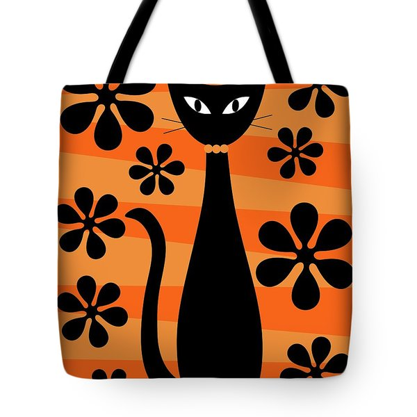 Tote Bag featuring the digital art Groovy Flowers With Cat Orange And Light Orange by Donna Mibus