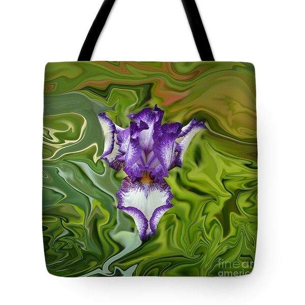 Tote Bag featuring the photograph Groovy Purple Iris by Rebecca Margraf