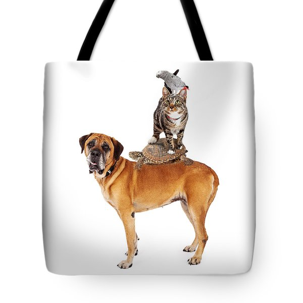 Grop Of Pets Stacked Up Tote Bag