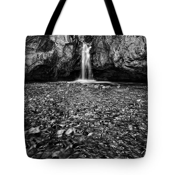 Grotto Falls In Black And White Tote Bag