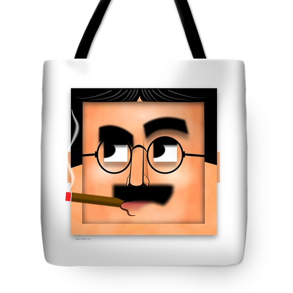 Tote Bag featuring the digital art Groucho Marx Blockhead by John Wills