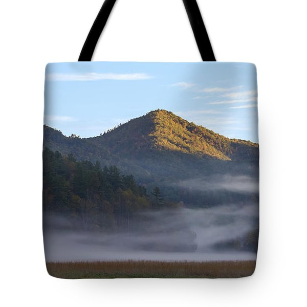 Ground Fog In Cataloochee Valley - October 12 2016 Tote Bag