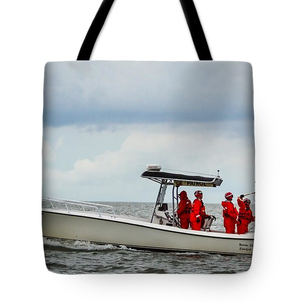 Tote Bag featuring the photograph Grounding The Rescue Basket by Gregory Daley  PPSA