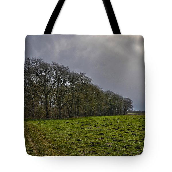 Group Of Trees Against A Dark Sky Tote Bag by Frans Blok