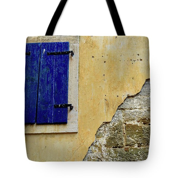 Groznjan Istrian Hill Town Stonework And Blue Shutters  - Istria, Croatia Tote Bag