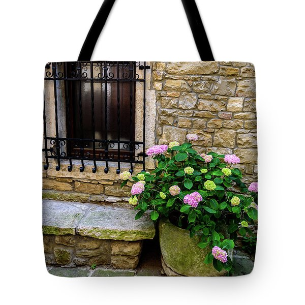 Groznjan Istrian Hill Town Stonework And Flowerpot - Istria, Croatia Tote Bag