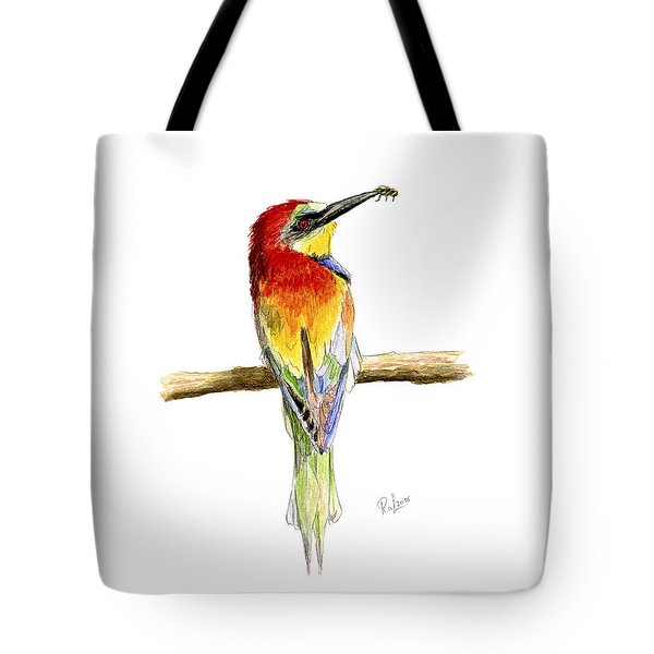 Tote Bag featuring the painting Gruccione  - Bee Eater - Merops Apiaster by Raffaella Lunelli