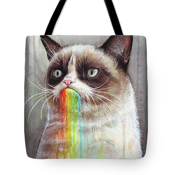 Grumpy Cat Tastes The Rainbow Tote Bag