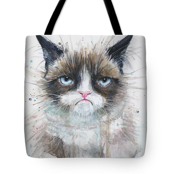 Grumpy Cat Watercolor Painting  Tote Bag