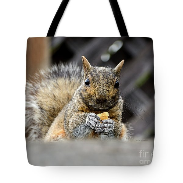 Tote Bag featuring the photograph Grumpy Squirrel by Susan Wiedmann