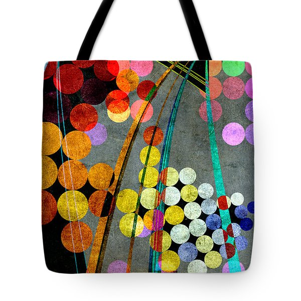 Tote Bag featuring the digital art Grunge City Lights by Fran Riley