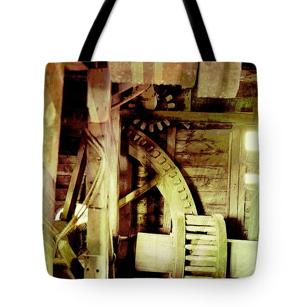 Tote Bag featuring the photograph Grunge Mill Wheels by Robert G Kernodle