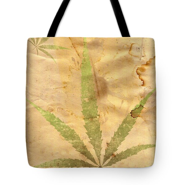 Grunge Paper With Leaf Of Grass Tote Bag by Michal Boubin