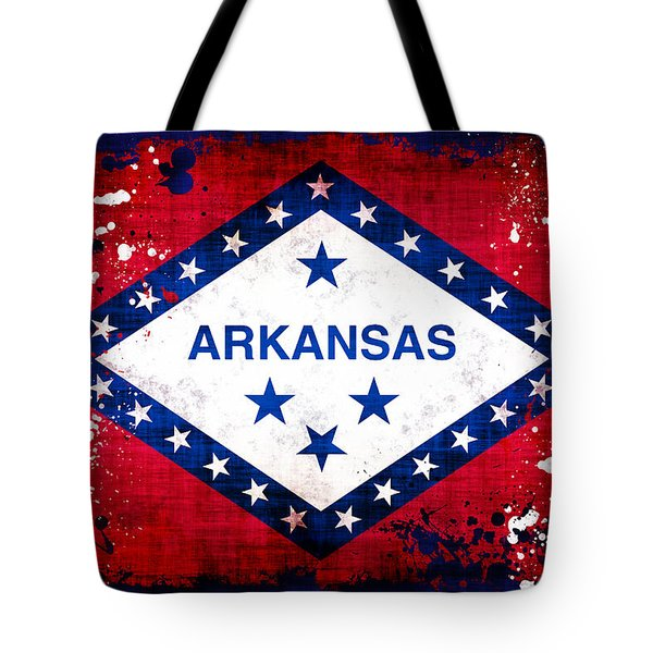 Grunge Style Arkansas Flag Tote Bag by David G Paul