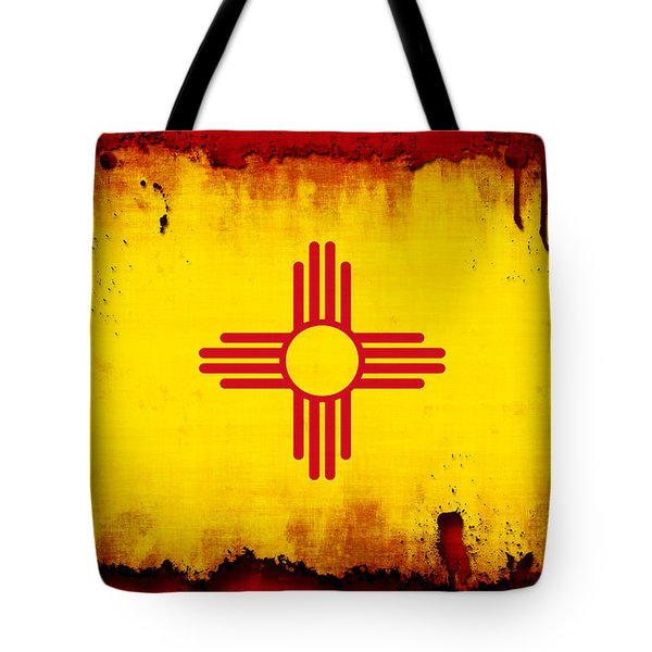 Grunge Style New Mexico Flag Tote Bag by David G Paul