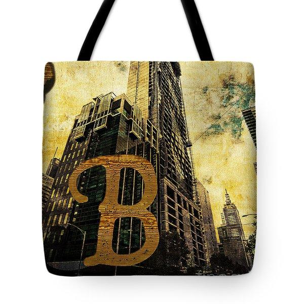 Grungy Melbourne Australia Alphabet Series Letter B Central Busi Tote Bag