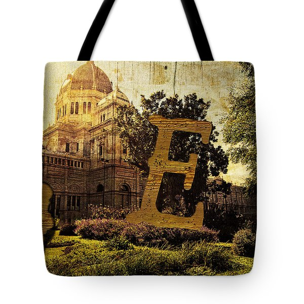 Grungy Melbourne Australia Alphabet Series Letter E Royal Exhibi Tote Bag