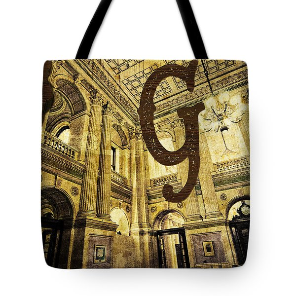 Grungy Melbourne Australia Alphabet Series Letter G Government P Tote Bag