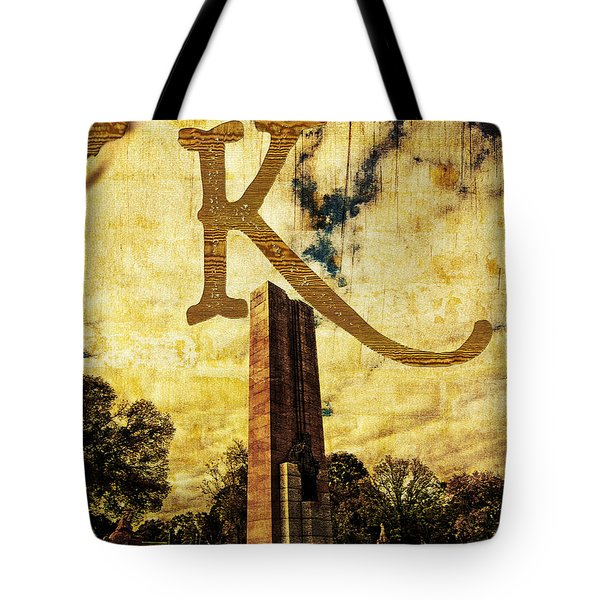Grungy Melbourne Australia Alphabet Series Letter K Kings Domain Tote Bag