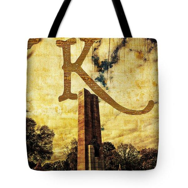 Grungy Melbourne Australia Alphabet Series Letter K Kings Domain Tote Bag