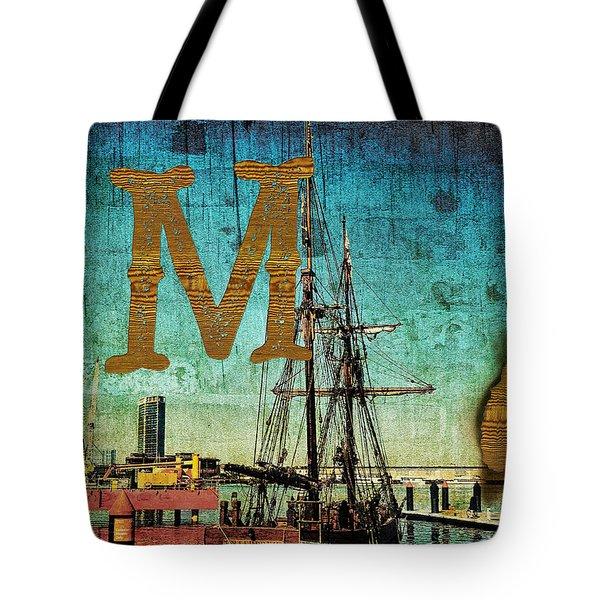 Grungy Melbourne Australia Alphabet Series Letter M Marina Dockl Tote Bag