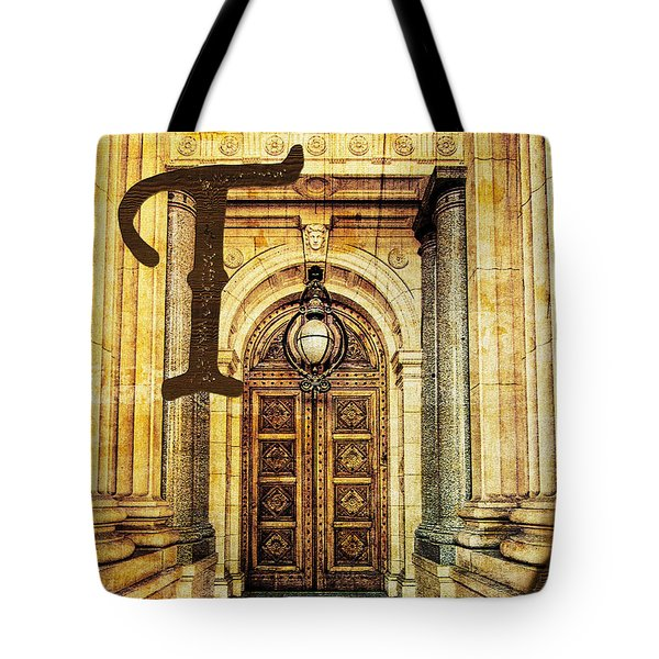 Grungy Melbourne Australia Alphabet Series Letter T Old Treasury Tote Bag