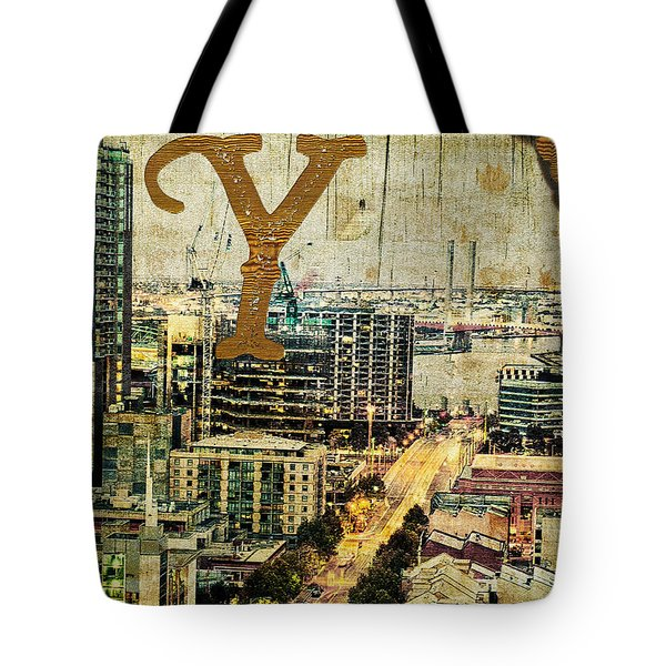 Grungy Melbourne Australia Alphabet Series Letter Y Yarra River Tote Bag