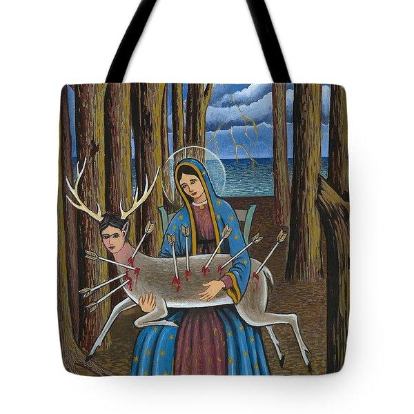 Guadalupe Visits Frida Kahlo Tote Bag by James Roderick