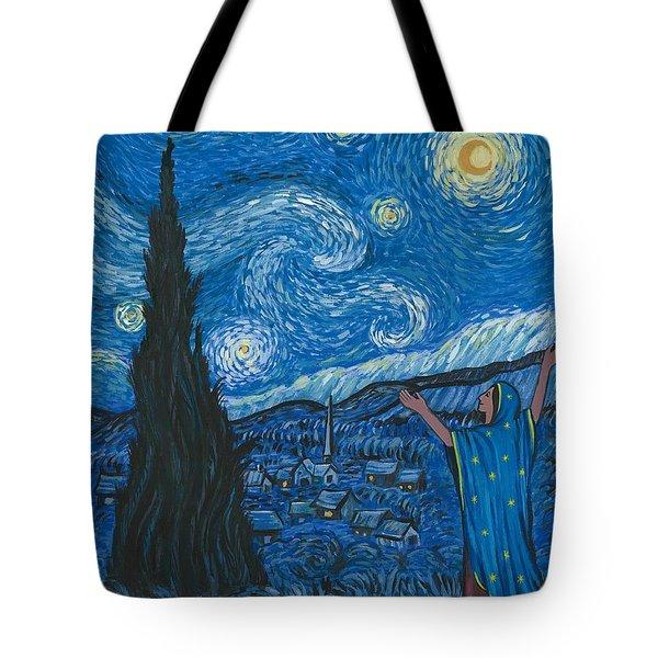 Guadalupe Visits Van Gogh Tote Bag by James Roderick