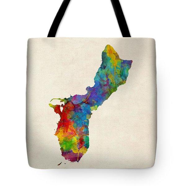 Guam Watercolor Map Tote Bag
