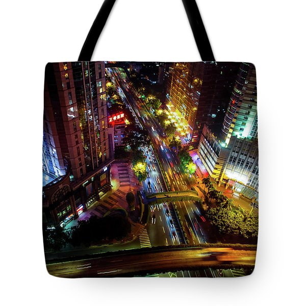 Tote Bag featuring the photograph Guangzhou City Streets At Night by Geoffrey C Lewis