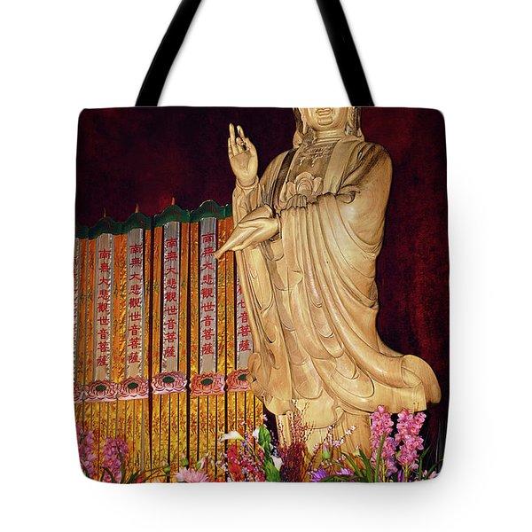 Guanyin Bodhisattva - Jin'an's Rare Female Buddha Tote Bag by Christine Till