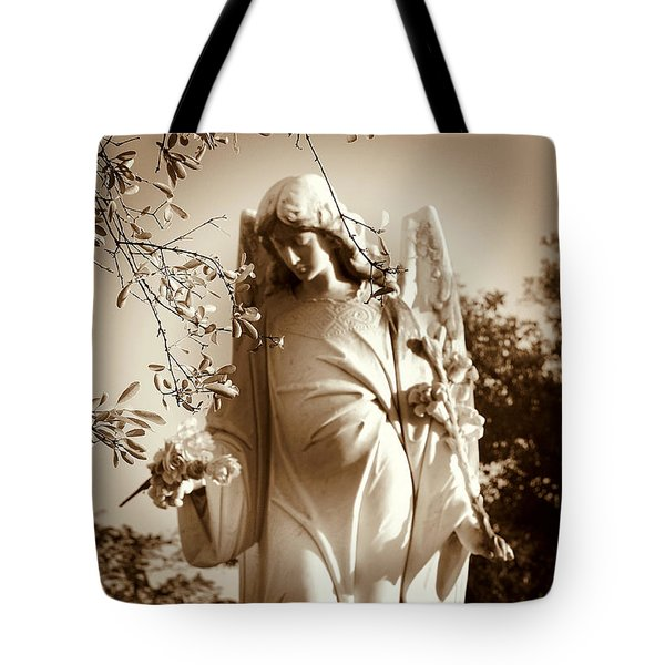 Guardian Angel Bw Tote Bag by Susanne Van Hulst