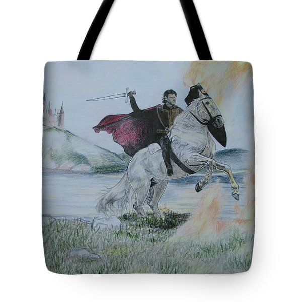 Tote Bag featuring the drawing Guardian Of The Castle by Melita Safran