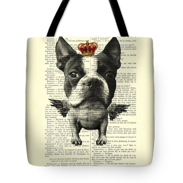 Boston Terrier With Wings And Red Crown Vintage Illustration Collage Tote Bag