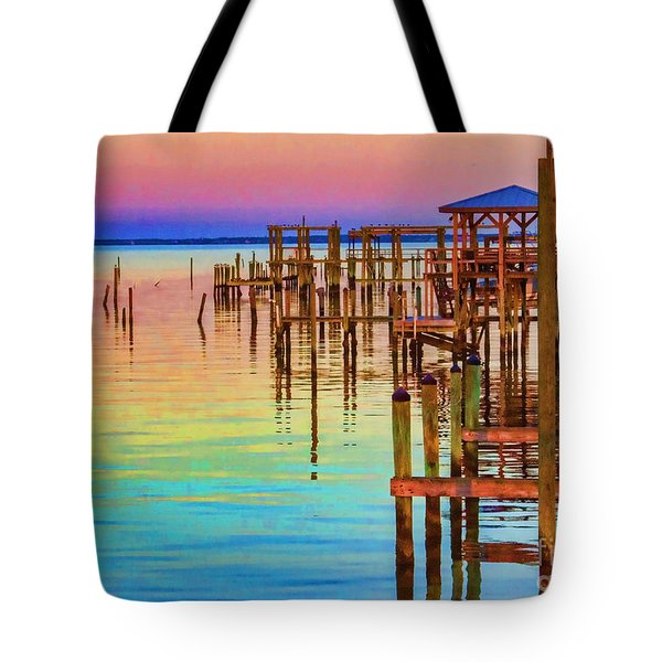 Guarding The Dock Tote Bag by Roberta Byram