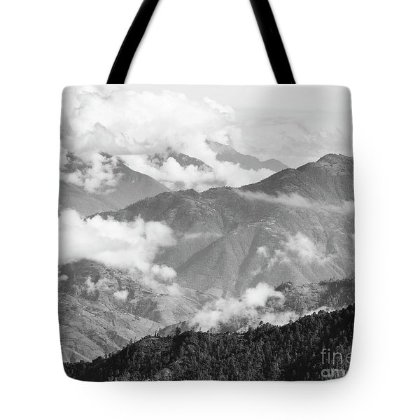 Tote Bag featuring the photograph Guatemala Mountain Landscape Black And White by Tim Hester