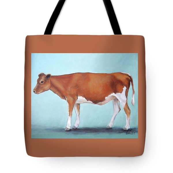 Guernsey Cow Standing Light Teal Background Tote Bag