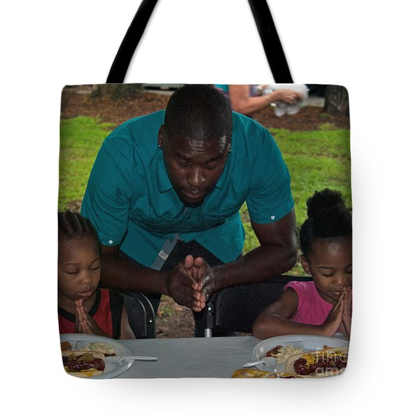 Guest Family Praying Tote Bag