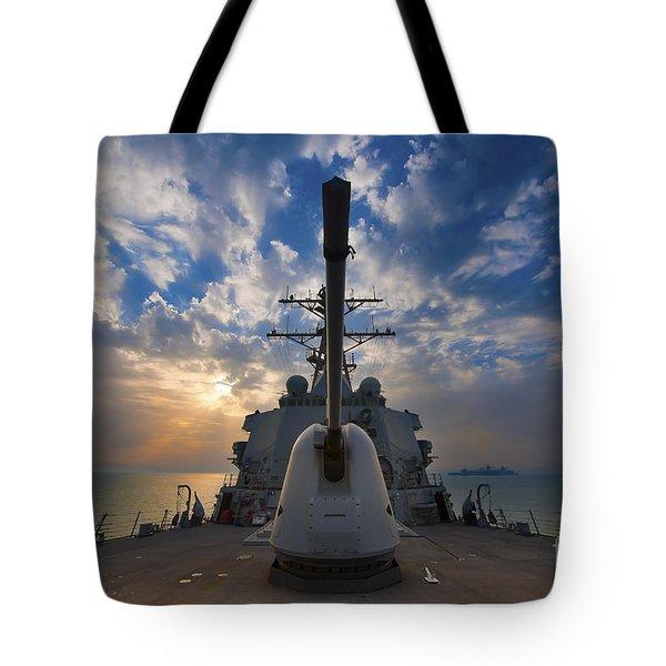 Guided-missile Destroyer Uss Higgins Tote Bag by Stocktrek Images