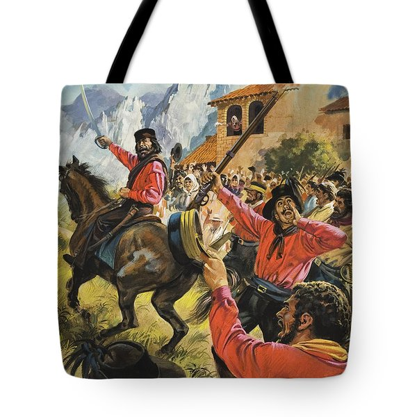 Guiseppe Garibaldi And His Army In The Battle With The Neopolitan Royal Troops Tote Bag by Andrew Howat