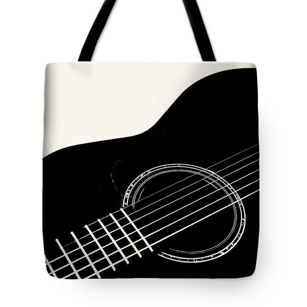 Guitar, Black And White,  Tote Bag