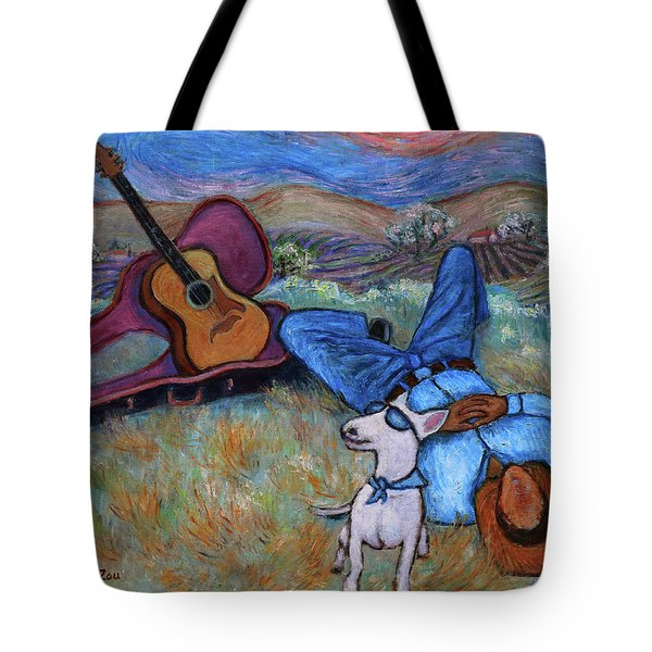 Guitar Doggy And Me In Wine Country Tote Bag