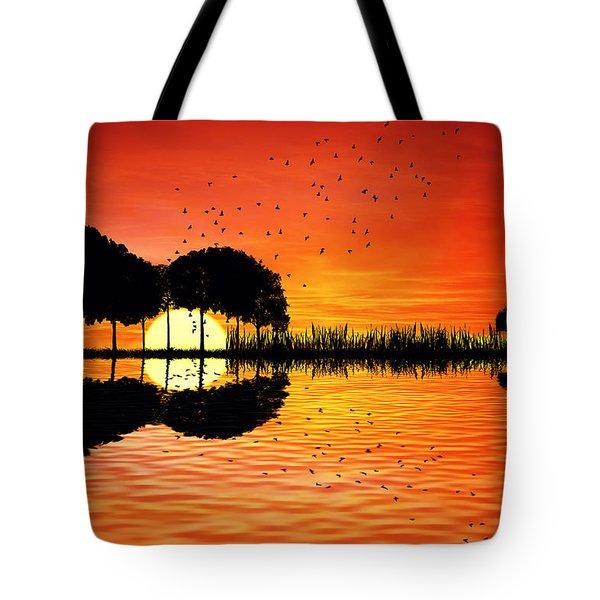 Guitar Island Sunset Tote Bag