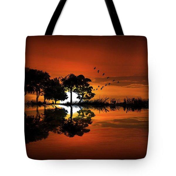 Guitar Landscape At Sunset Tote Bag